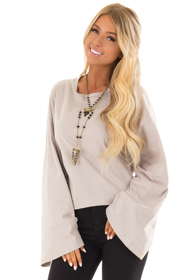 Cloud Grey Long Sleeve Top with Open Tie Back front close up