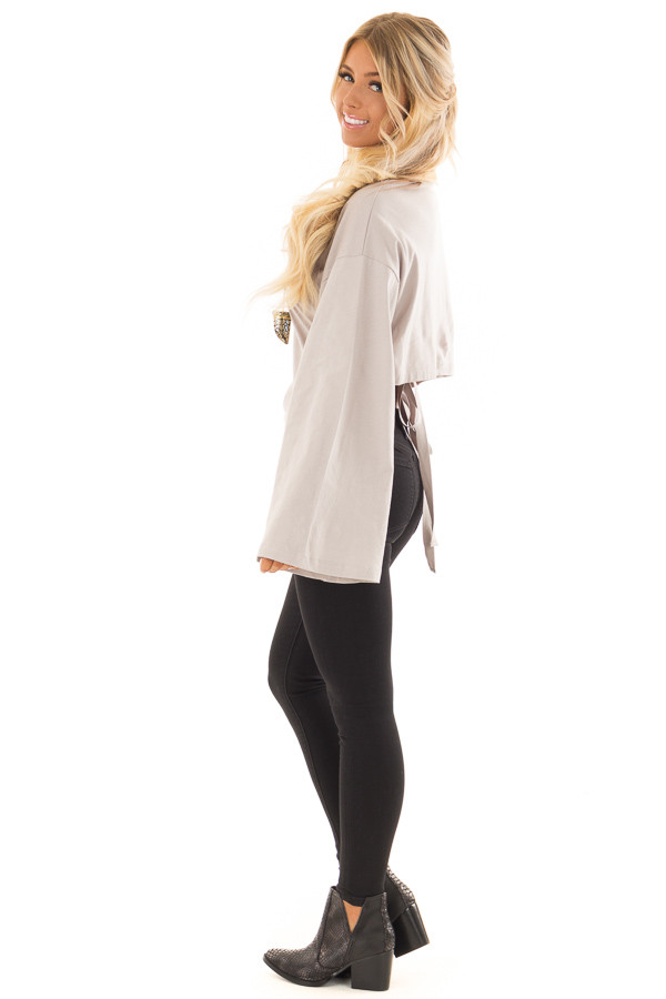 Cloud Grey Long Sleeve Top with Open Tie Back side full body