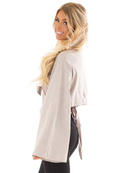 Cloud Grey Long Sleeve Top with Open Tie Back side close up