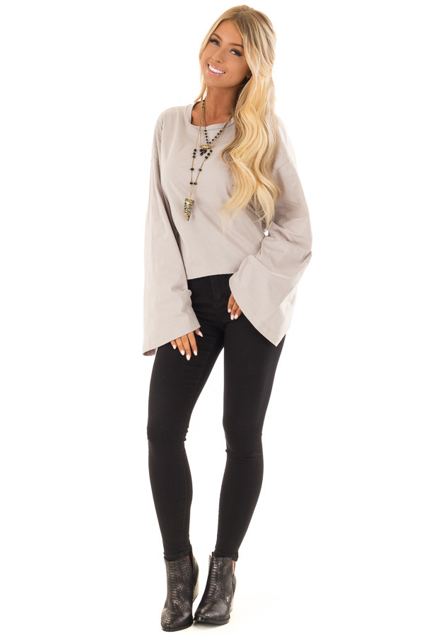 Cloud Grey Long Sleeve Top with Open Tie Back front full body