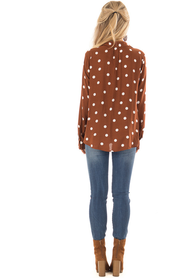 Burnt Cinnamon Polka Dot Long Sleeve Top with Front Twist back full body