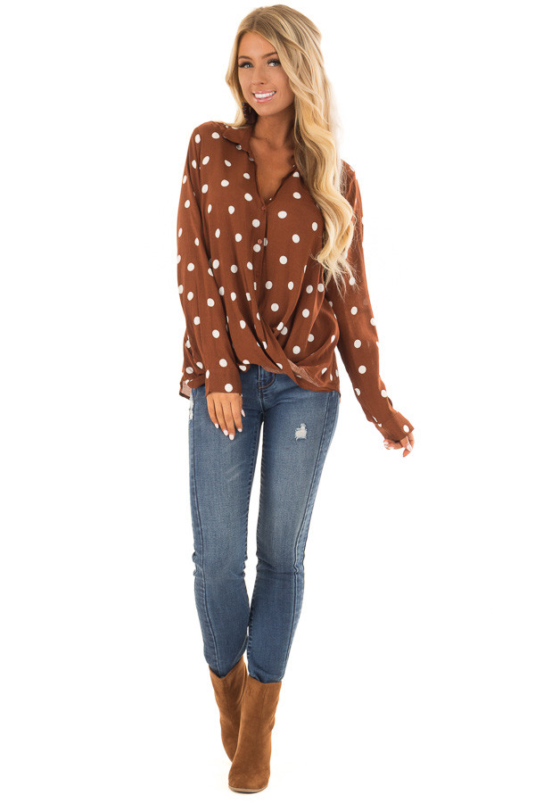 Burnt Cinnamon Polka Dot Long Sleeve Top with Front Twist front full body
