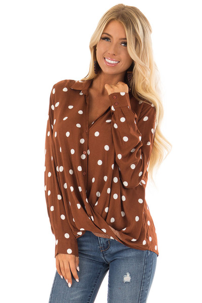Burnt Cinnamon Polka Dot Long Sleeve Top with Front Twist front close up