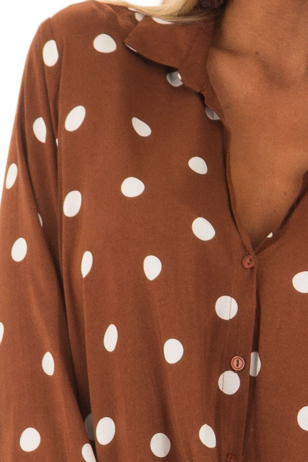 Burnt Cinnamon Polka Dot Long Sleeve Top with Front Twist detail