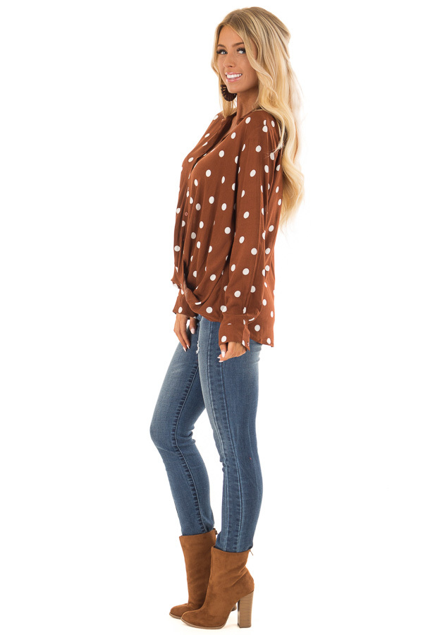 Burnt Cinnamon Polka Dot Long Sleeve Top with Front Twist side full body