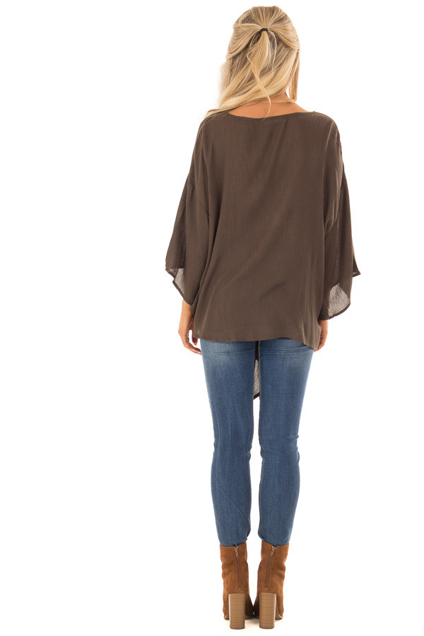 Dark Olive V Neck Top with Front Tie and 3/4 Flowy Sleeves back full body