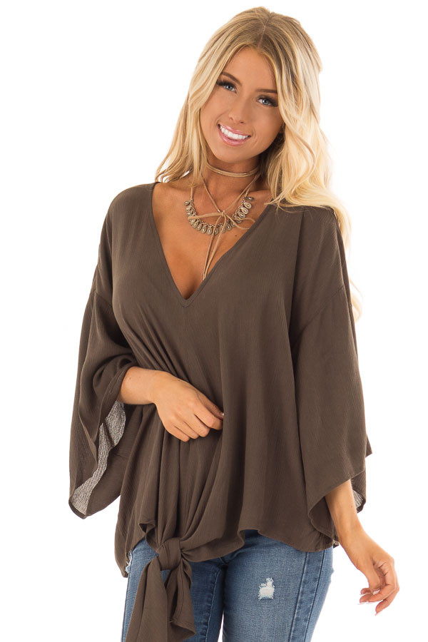 Dark Olive V Neck Top with Front Tie and 3/4 Flowy Sleeves front full body