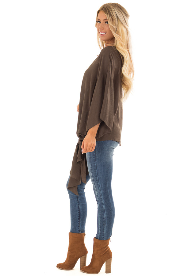 Dark Olive V Neck Top with Front Tie and 3/4 Flowy Sleeves side full body