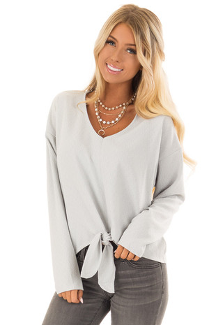 Light Mint V Neck Long Sleeve Top with Front Tie Detail front close up