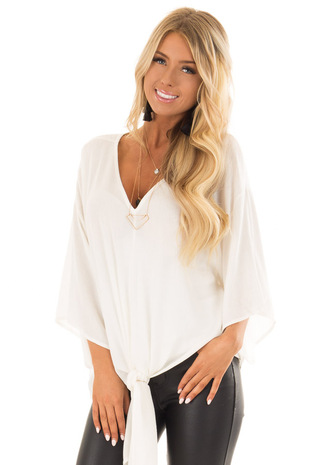 Off White V Neck Top with Front Tie and 3/4 Flowy Sleeves front close up