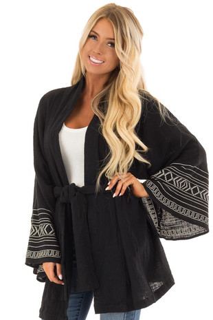 Black Embroidery Long Sleeve Cardigan with Front Tie front close up