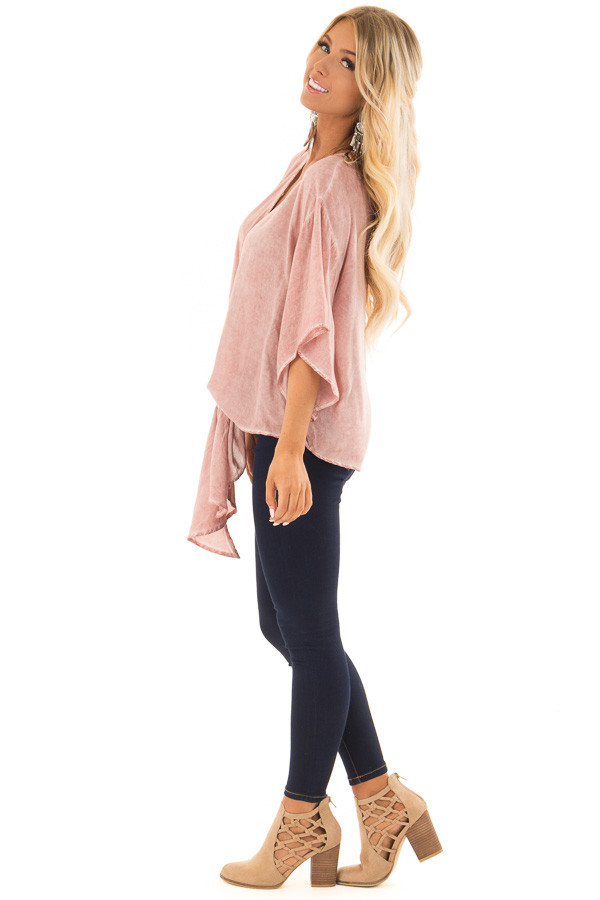 Dusty Rose Mineral Wash Short Sleeve Top with Front Tie side full body