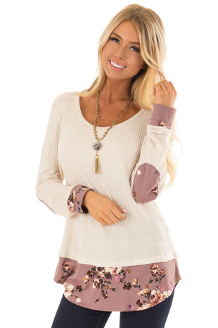 Beige Waffle Knit Top with Mauve Floral Elbow Patches front close up