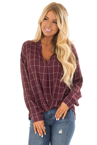 Sangria Plaid Long Sleeve Top With Pleat Detail front close up