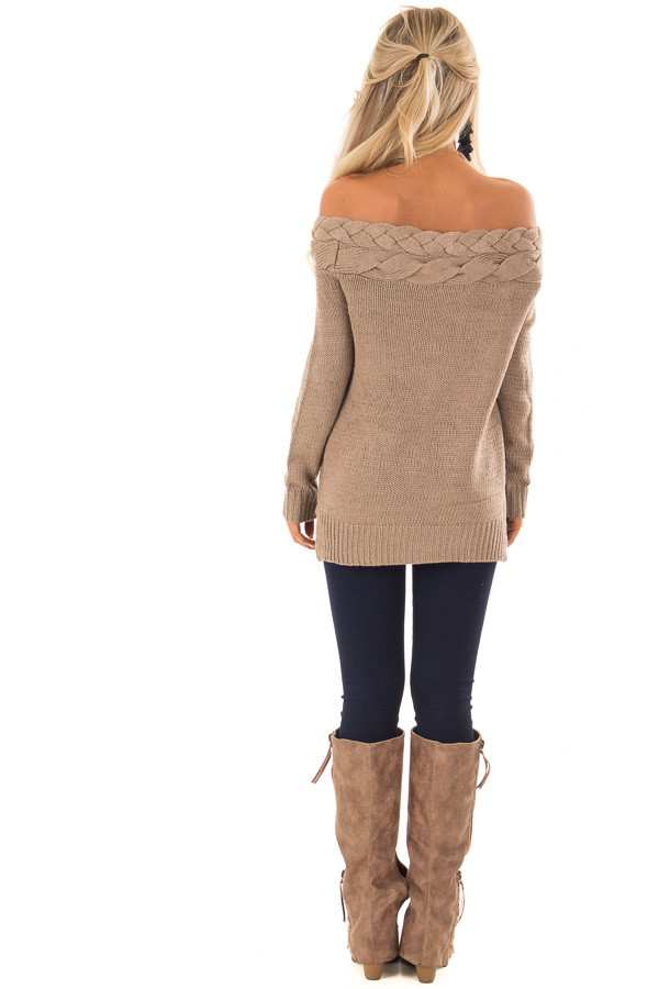 Mocha Off the Shoulder Braided Cable Knit Sweater back full body