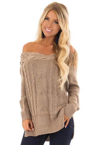 Mocha Off the Shoulder Braided Cable Knit Sweater front close up