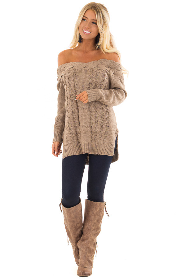 Mocha Off the Shoulder Braided Cable Knit Sweater front full body