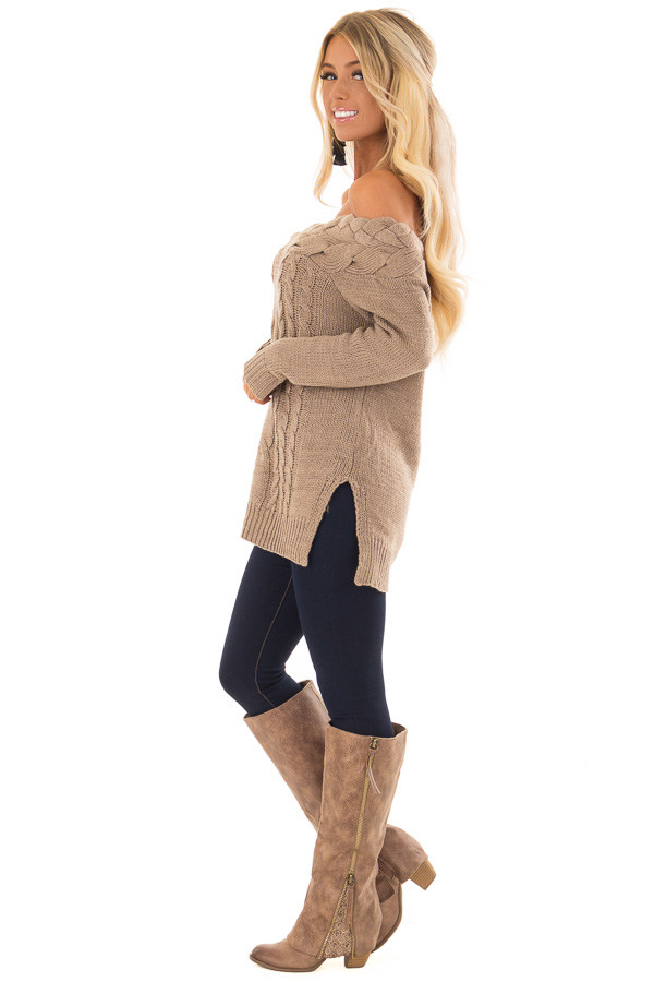 Mocha Off the Shoulder Braided Cable Knit Sweater side full body
