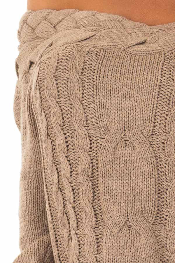Mocha Off the Shoulder Braided Cable Knit Sweater detail