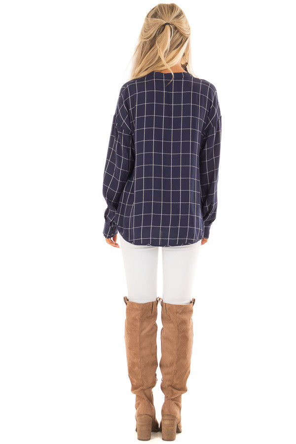 Deep Cobalt Blue Plaid Long Sleeve Top With Pleat Detail back full body