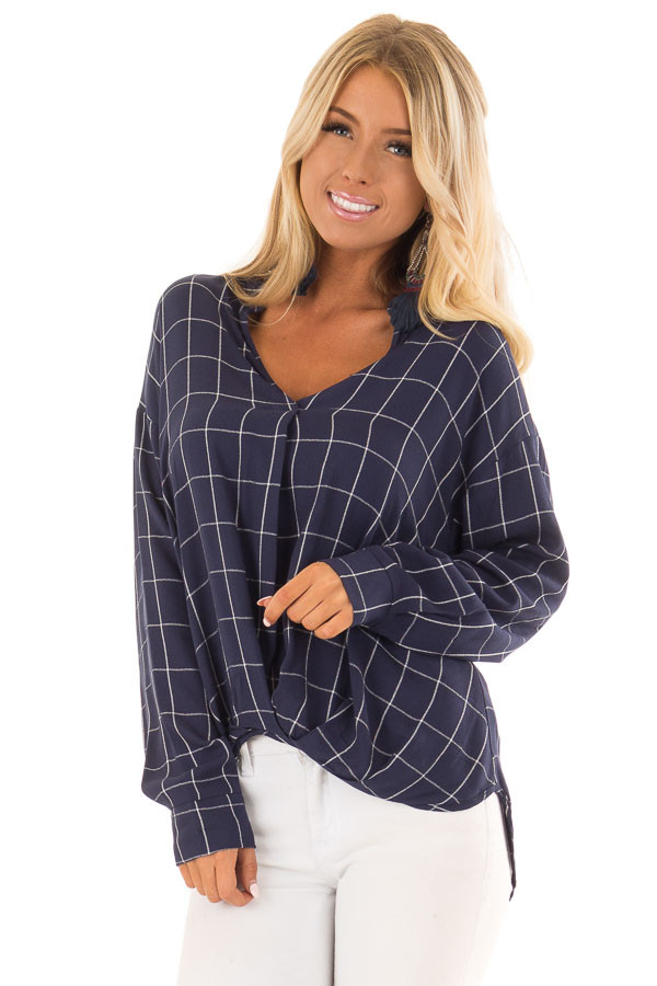 Deep Cobalt Blue Plaid Long Sleeve Top With Pleat Detail front close up