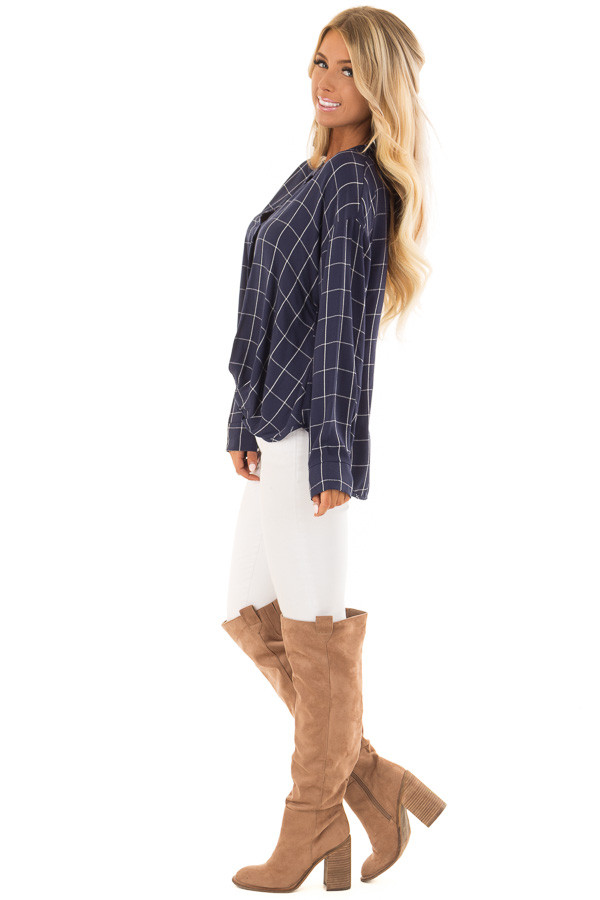 Deep Cobalt Blue Plaid Long Sleeve Top With Pleat Detail side full body