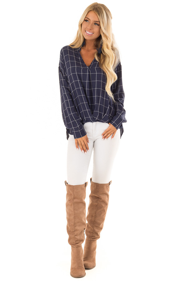 Deep Cobalt Blue Plaid Long Sleeve Top With Pleat Detail front full body