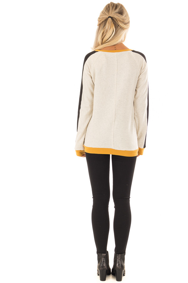 Mustard and Black Color Block Long Sleeve Sweatshirt back full body