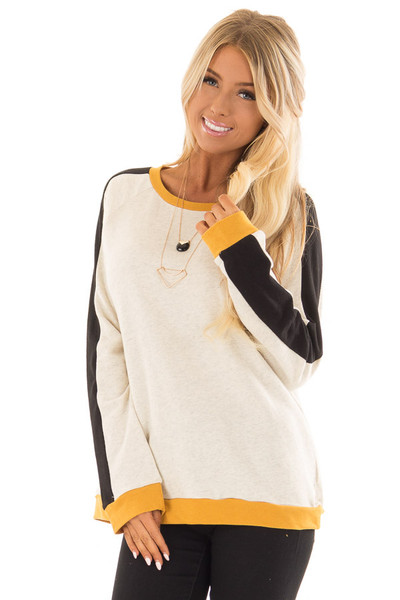 Mustard and Black Color Block Long Sleeve Sweatshirt front close up