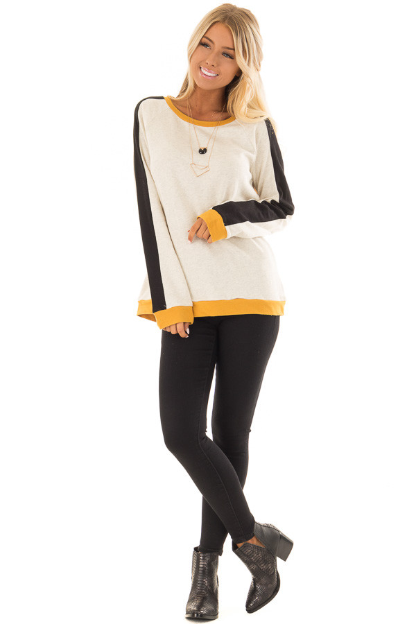 Mustard and Black Color Block Long Sleeve Sweatshirt front full body