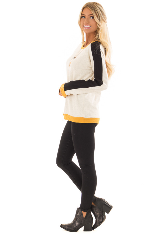 Mustard and Black Color Block Long Sleeve Sweatshirt side full body