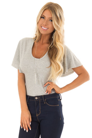 Heather Grey Butterfly Sleeve Ribbed Bodysuit front close up
