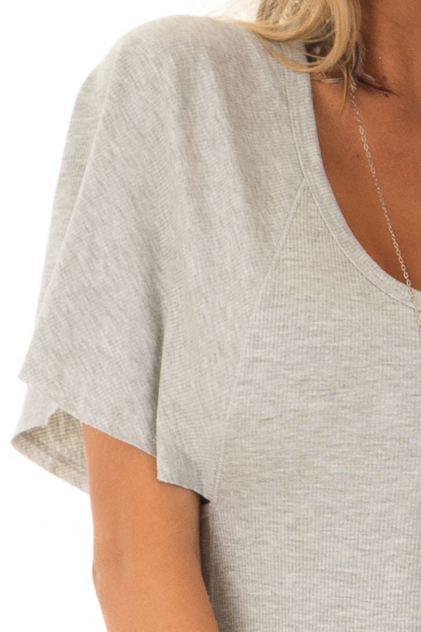 Heather Grey Butterfly Sleeve Ribbed Bodysuit detail