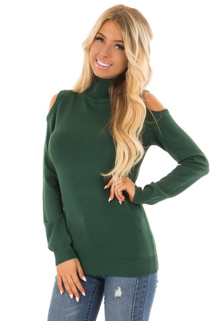 Hunter Green Long Sleeve Cold Shoulder Top with Mock Neck front close up