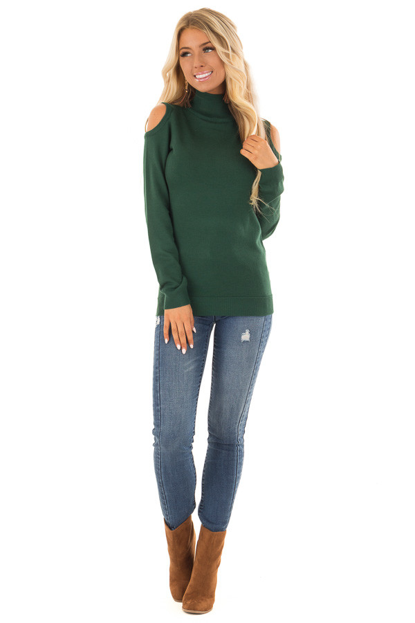 Hunter Green Long Sleeve Cold Shoulder Top with Mock Neck front full body