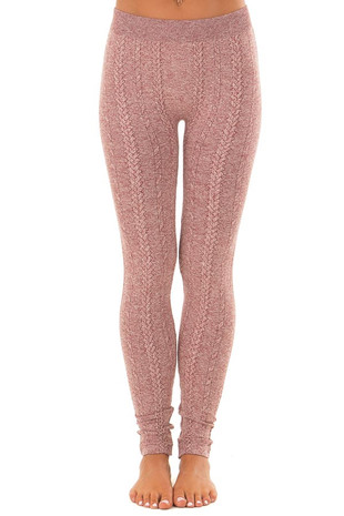 Heathered Burgundy Braided Knit Comfy Leggings front view