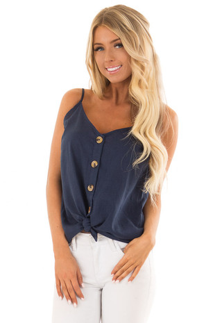 Navy Button Up Tank Top with Front Tie Detail back close up