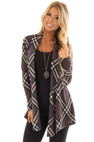 Charcoal and Scarlet Plaid Long Sleeve Cardigan front close up