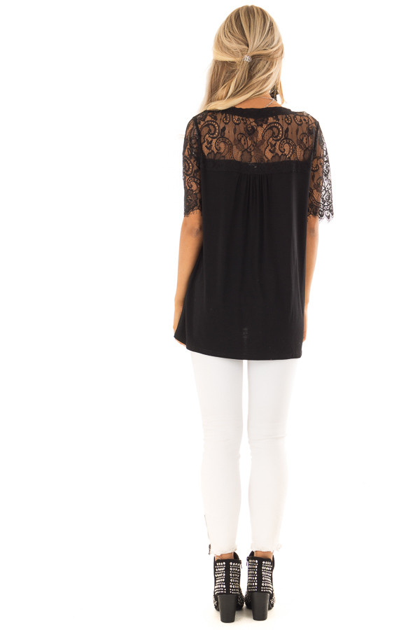 Black V Neck Top with Short Lace Sleeves back full body