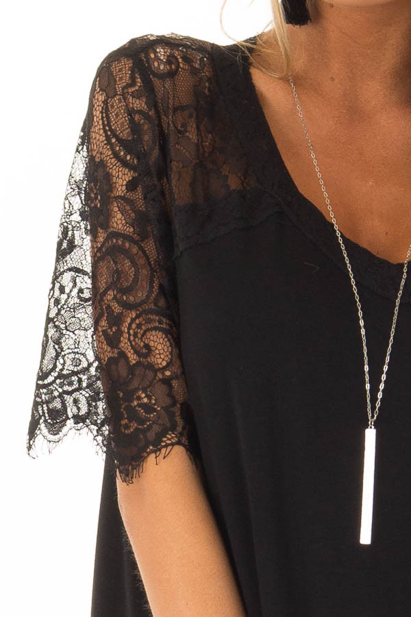 Black V Neck Top with Short Lace Sleeves detail
