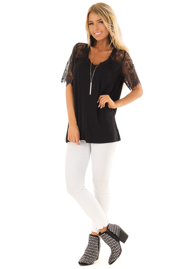 Black V Neck Top with Short Lace Sleeves front full body