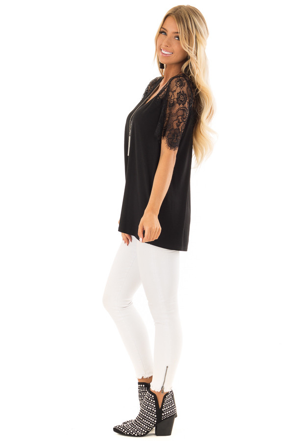 Black V Neck Top with Short Lace Sleeves side full body