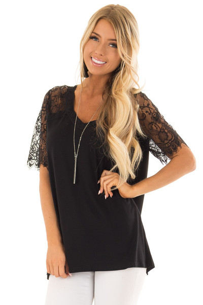 Black V Neck Top with Short Lace Sleeves front close up
