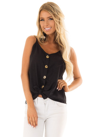 Black Button Up Tank Top with Front Tie Detail front close up