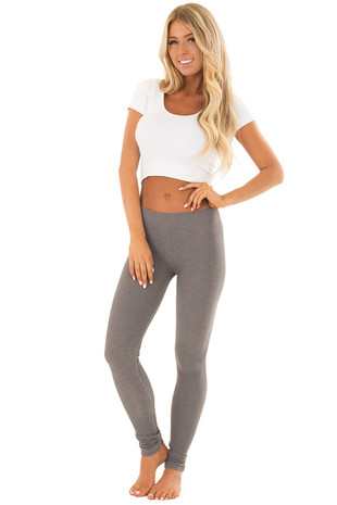 Stone Grey Two Tone Comfy Leggings front full body