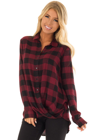 Wine Red and Black Plaid Button Up Top with Twisted Hem front close up