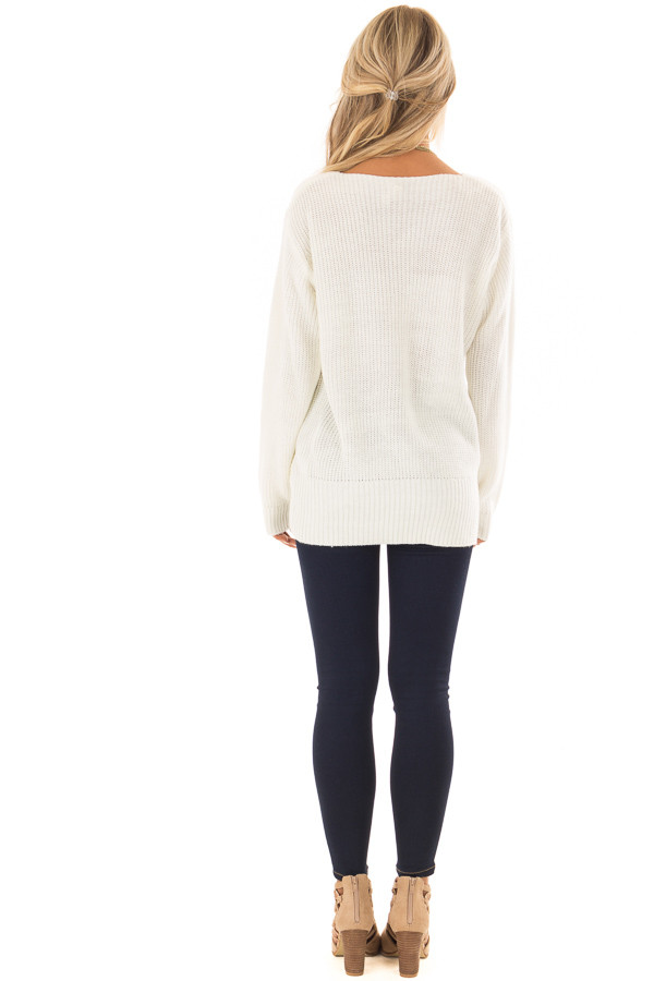 Ivory Long Sleeve Knit Sweater with Front Knot back full body