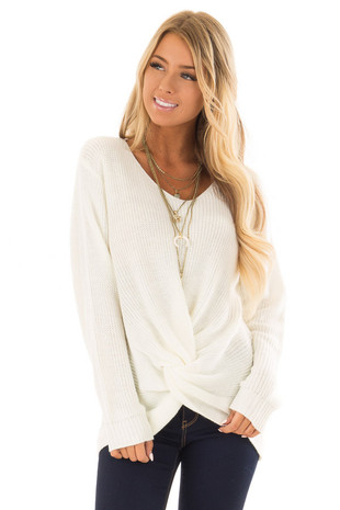Ivory Long Sleeve Knit Sweater with Front Knot front close up