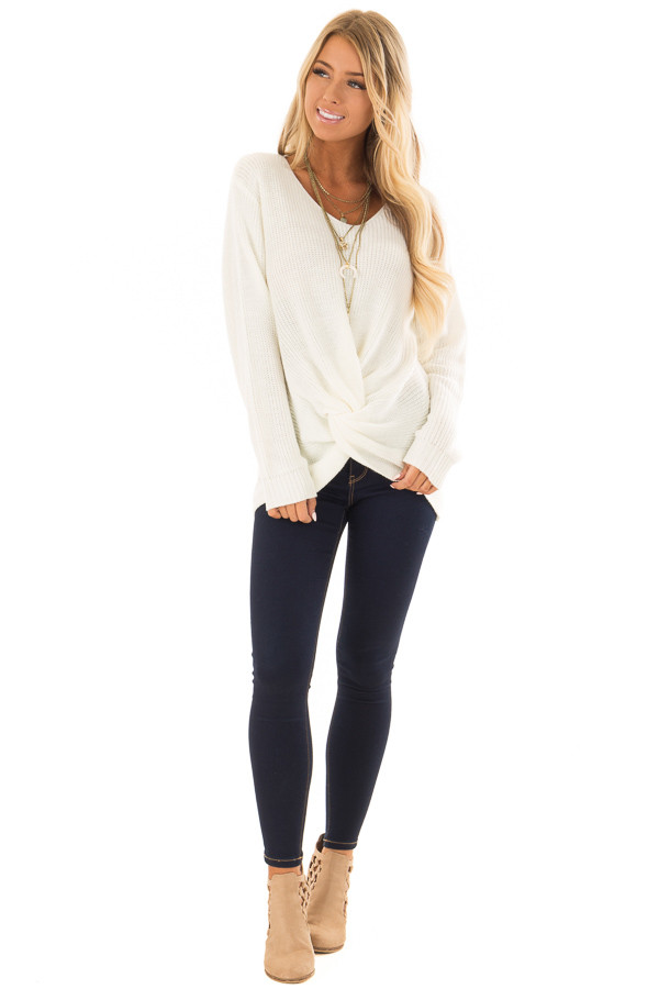 Ivory Long Sleeve Knit Sweater with Front Knot front full body