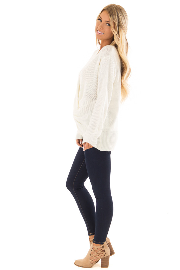 Ivory Long Sleeve Knit Sweater with Front Knot side full body